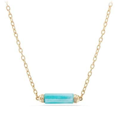Barrels Single Station Necklace with Amazonite and Diamonds in 18K Gold