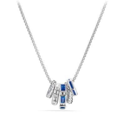 Stax Pendant Necklace with Sapphires, Blue Enamel and Diamonds in 18K White Gold
