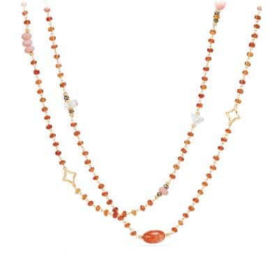 Long Bead and Chain Necklace with Sun Stone, Morganite and Hessonite Garnet in 18K Gold
