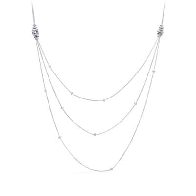 Stax Chain Necklace with Diamonds, Sapphires, in 18K White Gold