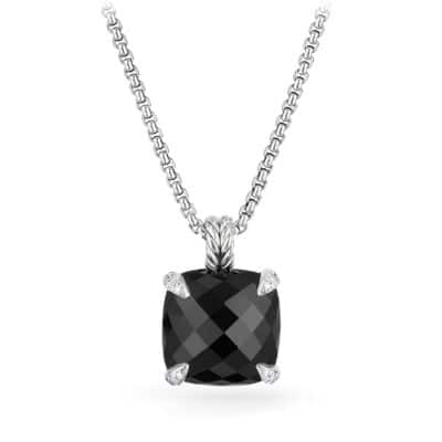 Chatelaine® Pendant Necklace with Black Onyx and Diamonds, 14mm
