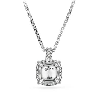 Chatelaine® Pave Bezel Pendant Necklace with Black Orchard and Diamonds, 9mm