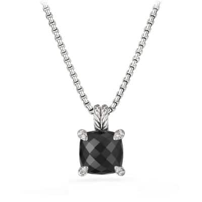 Chatelaine® Pendant Necklace with Black Onyx and Diamonds, 11mm