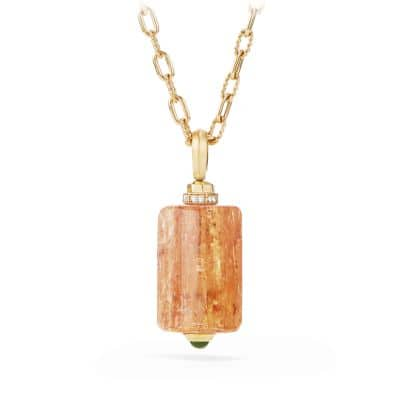 Barrels Station Pendant Necklace with Imperial Topaz, Green Garnet and Diamonds in 18K Gold