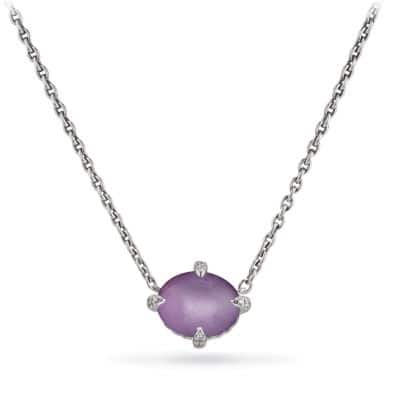Chatelaine® Single Stone Necklace with Amethyst and Diamonds