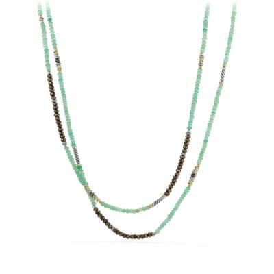 Tweejoux® Bead Necklace in Chrysoprase, Pyrite, and Peridot with 18K Gold