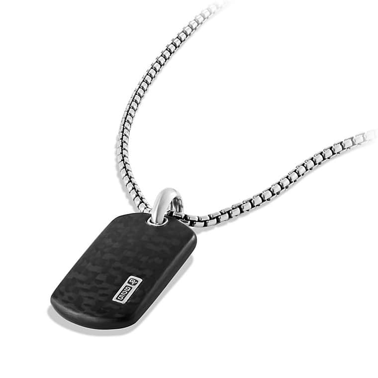 Small Tag Necklace with Carbon Fiber