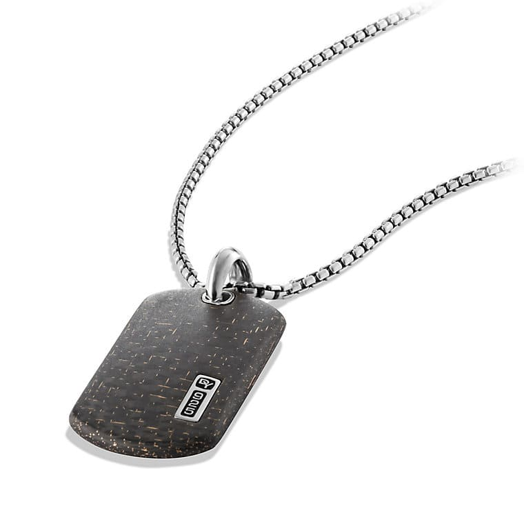 Large Tag Necklace with Bronze Lightning Strike Carbon Fiber