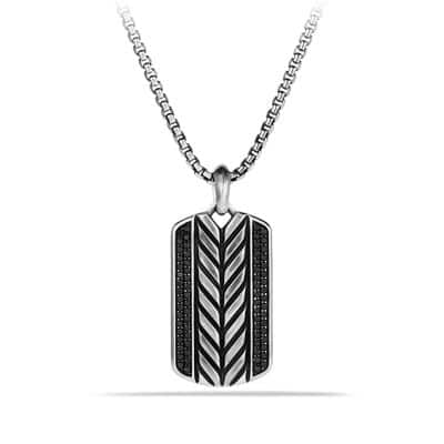 Modern Chevron Tag Necklace with Black Diamonds