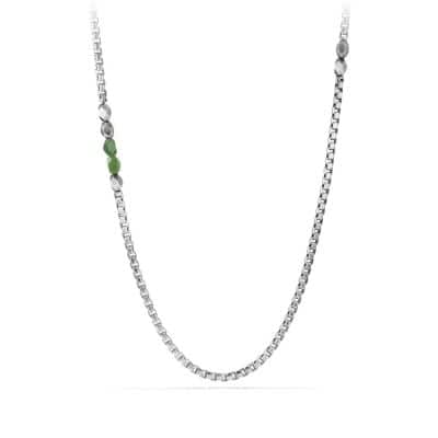 Faceted Metal Necklace with Jade