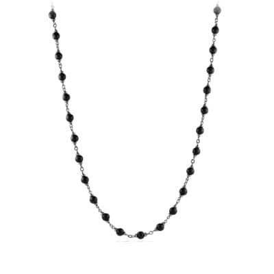 Rosary Bead Necklace in Black Onyx