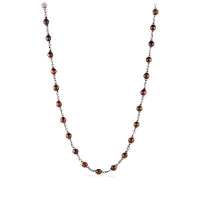 Spiritual Rosary Bead Necklace in Red Tiger Eye