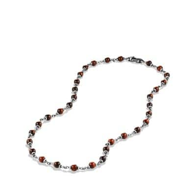 Rosary Bead Necklace in Red Tiger Eye