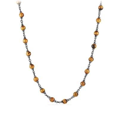 Rosary Bead Necklace in Tiger Eye