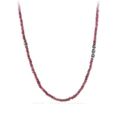 Skull Station Necklace in Ruby