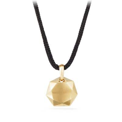 DY Fortune Pendant in Black in 18K Gold