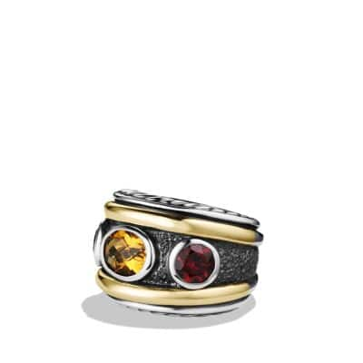 Renaissance Ring with Citrine, Rhodolite Garnet and Gold