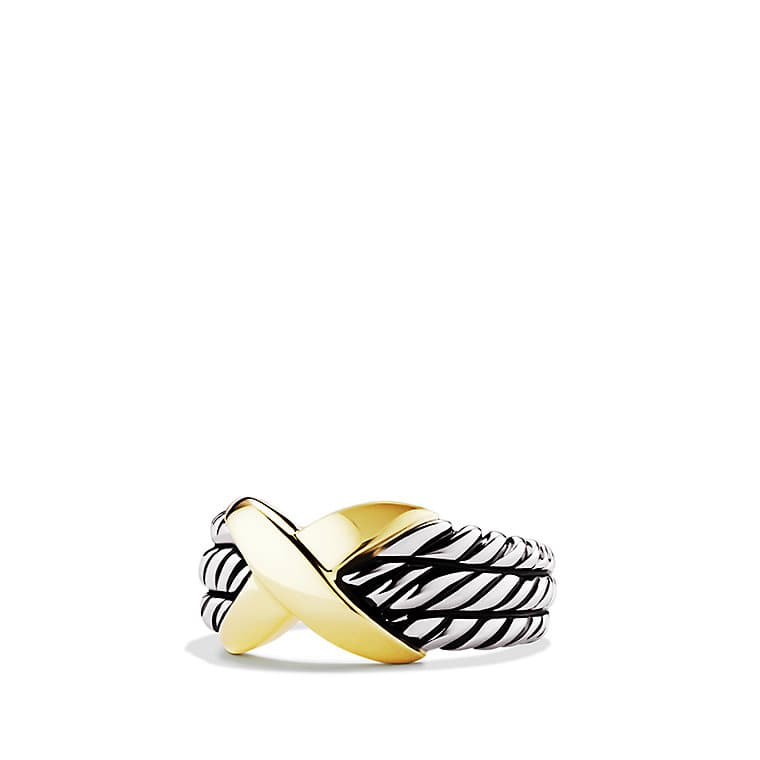 X Triple-Row Ring with Gold