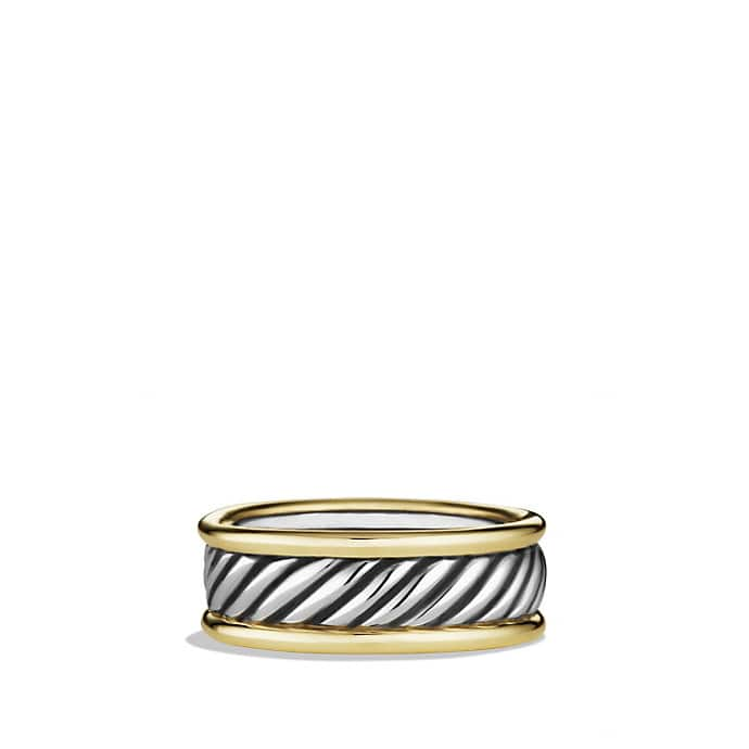 Cable Band Ring with Gold