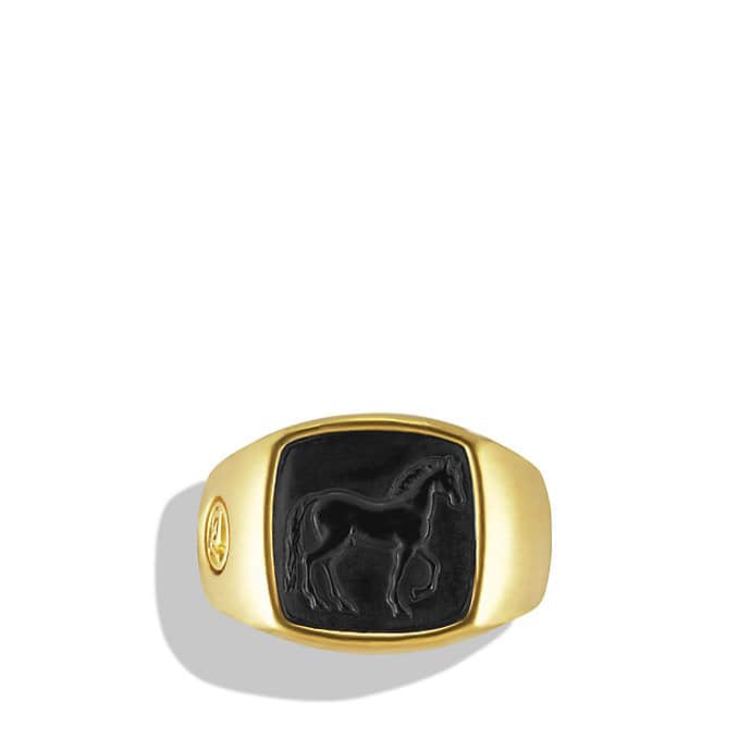 Petrvs Horse Signet Ring with Carved Black Jade in Gold