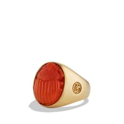 Petrvs Scarab Signet Ring with Carved Carnelian in Gold