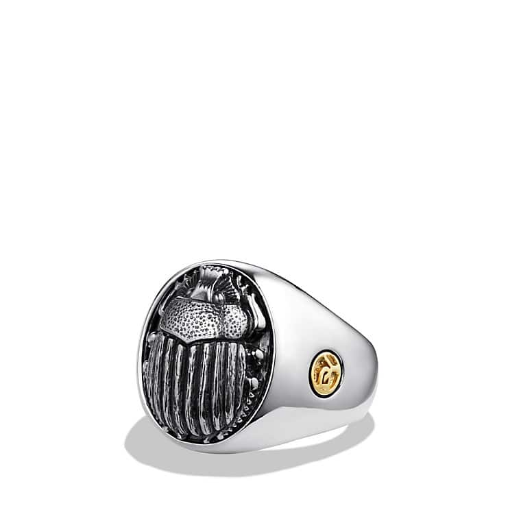 Petrvs Scarab Signet Ring with Gold