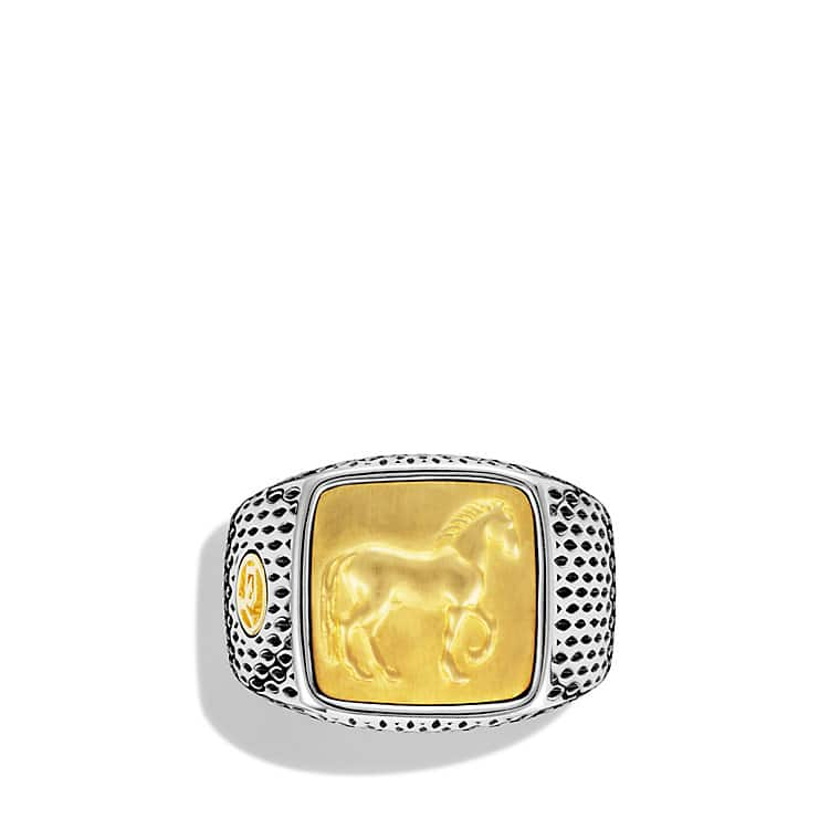 Petrvs Horse Signet Ring with Gold