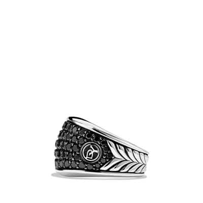 Pavé Three-Sided Ring with Black Diamonds