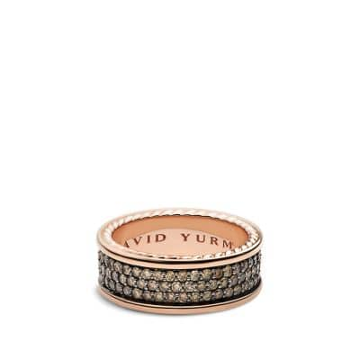 Streamline Three-Row Band Ring with Cognac Diamonds in Rose Gold