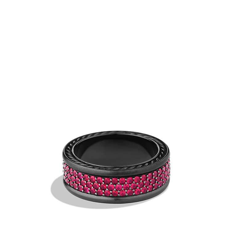 Streamline Three-Row Band Ring with Rubies and Black Titanium