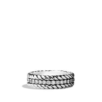 Pavé Cable Band Ring with Diamonds