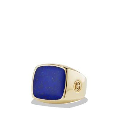 Exotic Stone Signet Ring with Lapis Lazuli in 18K Gold