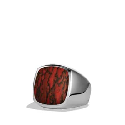 Exotic Stone Signet Ring with Dinosaur Bone