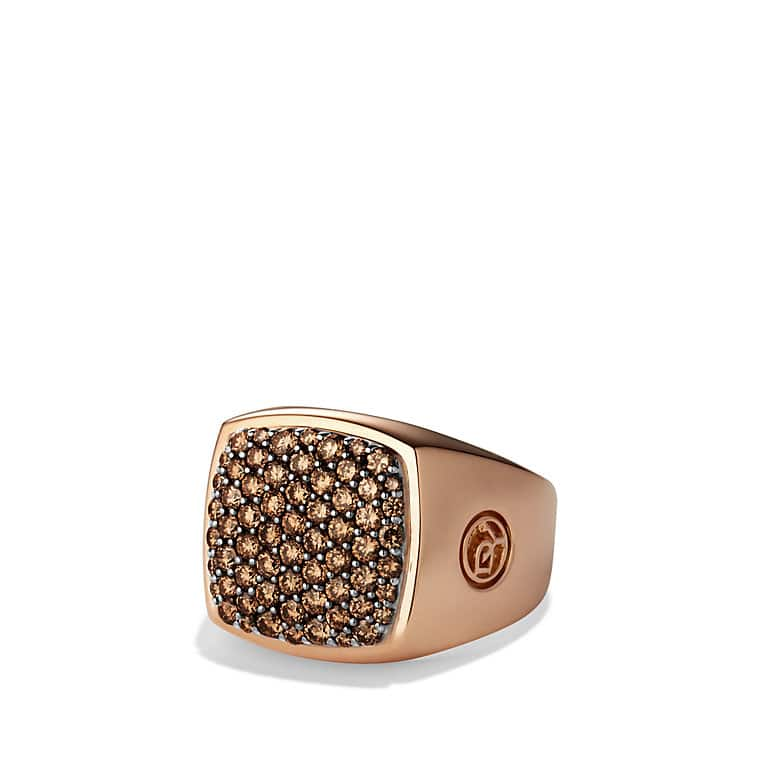 Pavé Signet Ring with Cognac Diamonds in Rose Gold