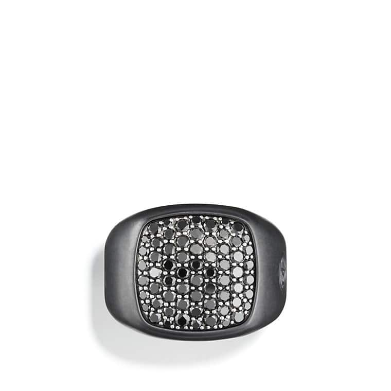 Pavé Signet Ring with Black Diamonds