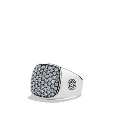Pavé Signet Ring with Gray Sapphires