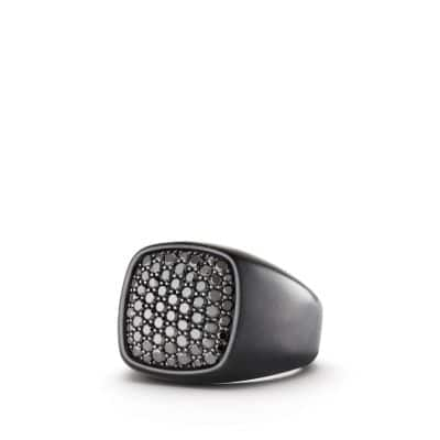 Pavé Signet Ring with Black Diamonds and Black Titanium