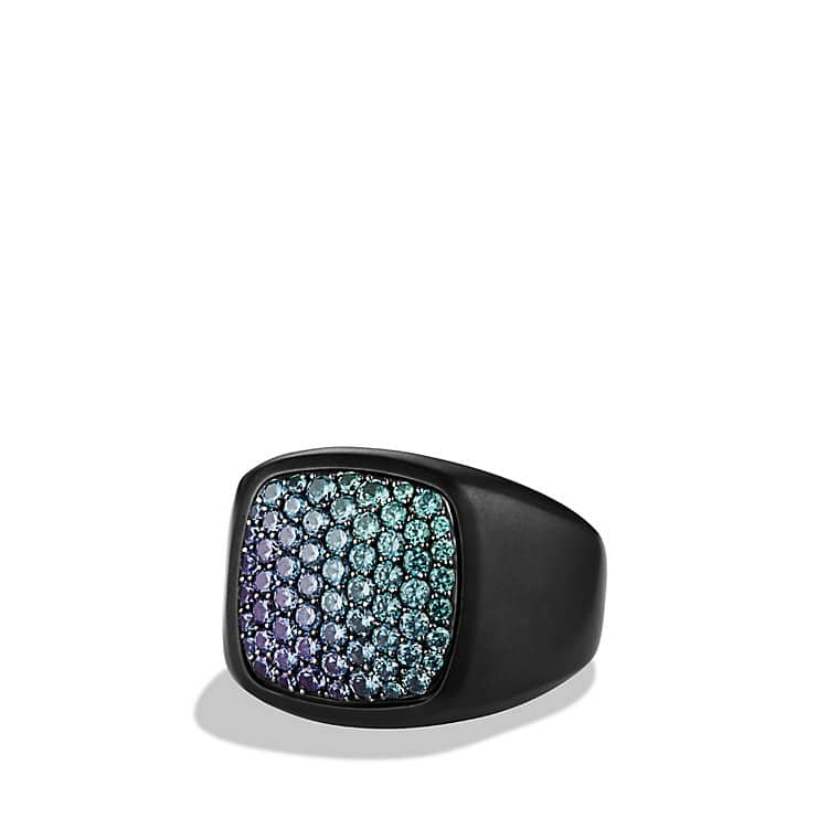Pavé Signet Ring with Color Change Garnets and Black Titanium