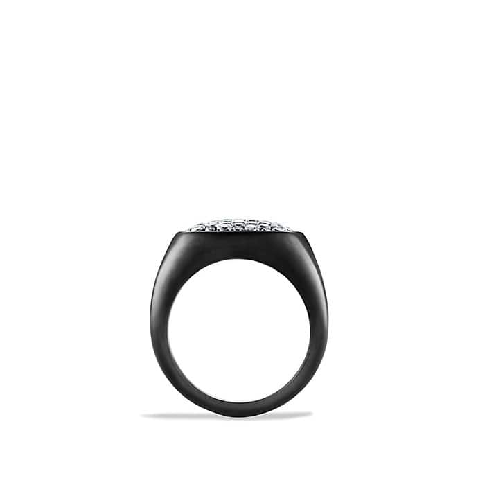 Pave Ring with Grey Sapphire in Black Titanium