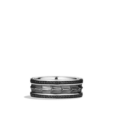Armory Narrow Band Ring with Black Diamonds