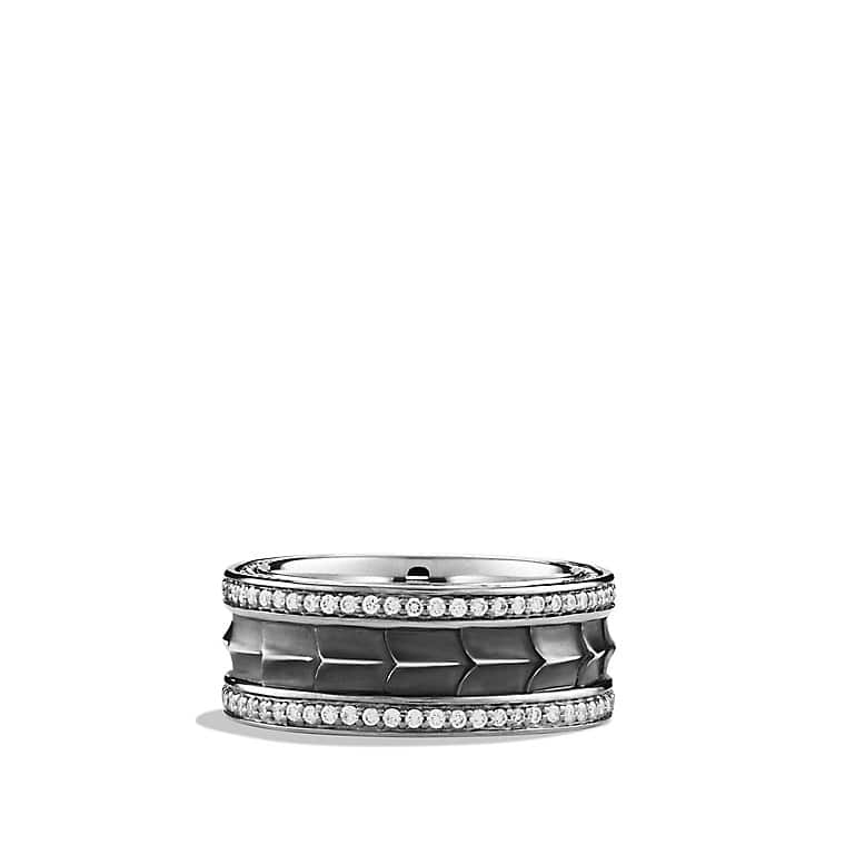 Armory Narrow Band Ring with Diamonds