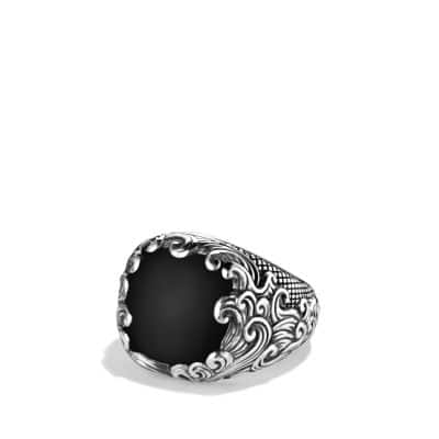 Waves Signet Ring with Black Onyx