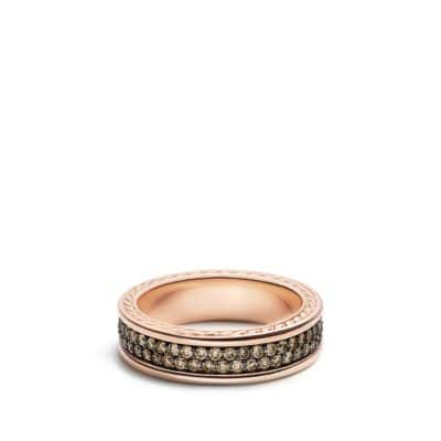 Streamline Two-Row Band Ring with Cognac Diamonds in 18K Rose Gold, 7mm