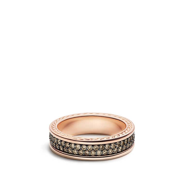 Streamline Two Row Band Ring With Cognac Diamonds In 18K Rose Gold, 7mm