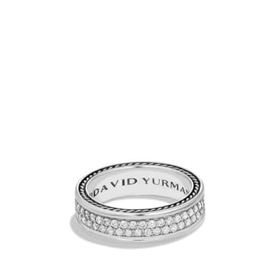 Streamline Two-Row Band Ring with Diamonds