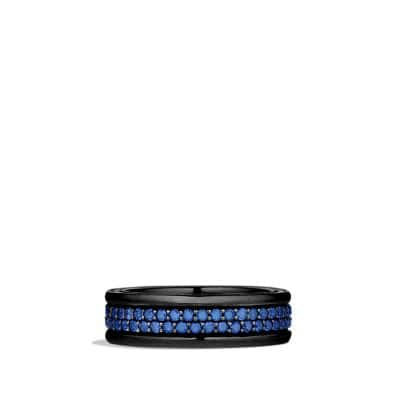 Streamline Two-Row Pave Band Ring with Blue Sapphire and Black Titanium, 7mm