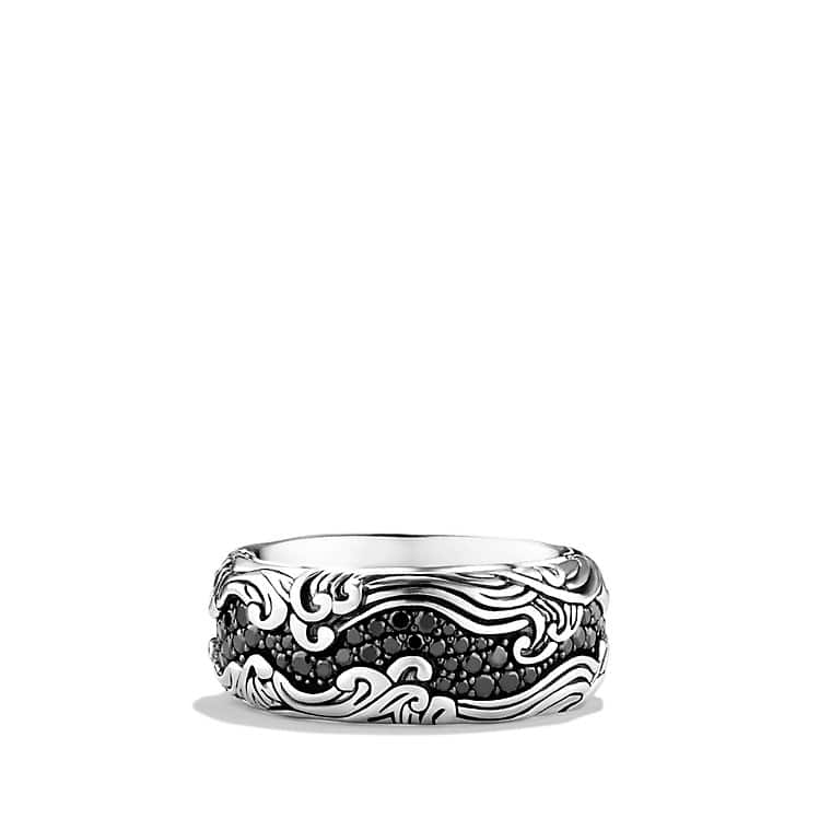 Waves Wide Band Ring with Black Diamonds