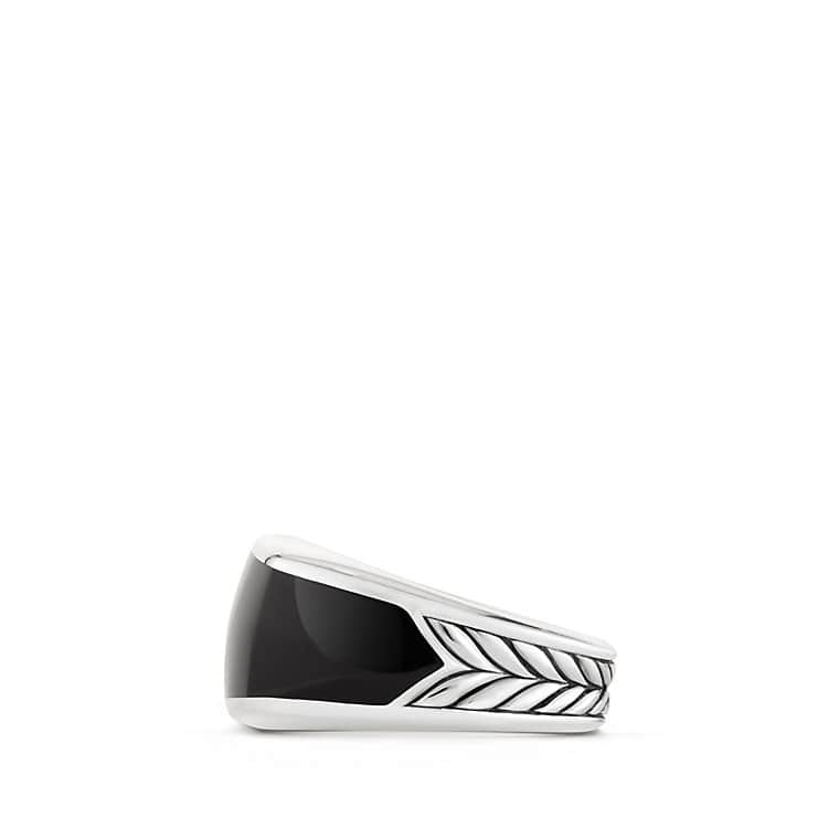 Exotic Stone Narrow Three-Sided Ring with Black Onyx
