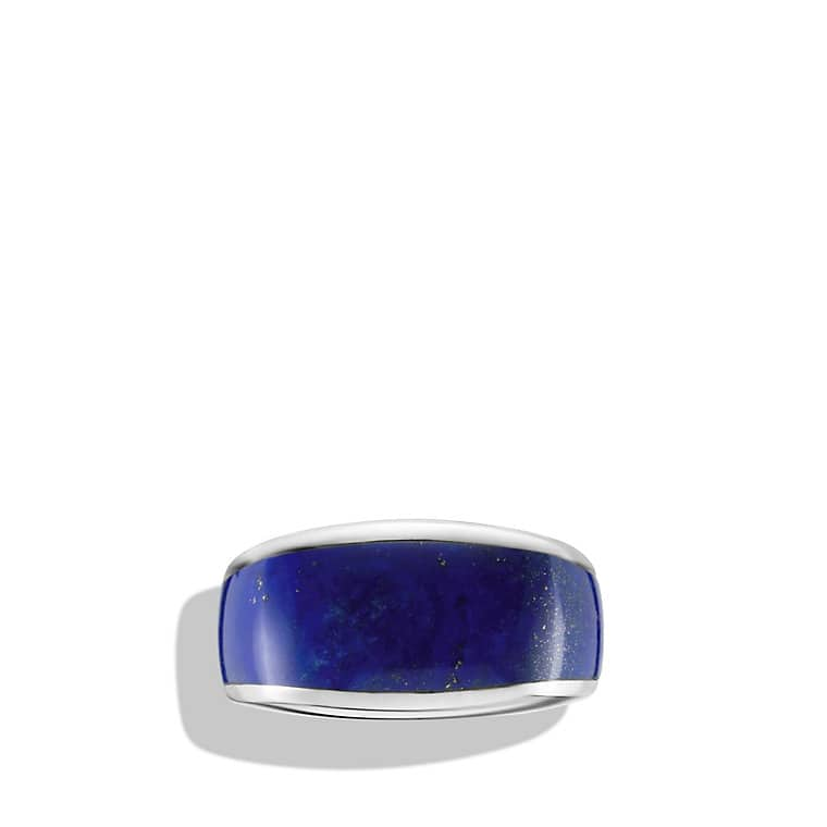 Exotic Stone Narrow Three-Sided Ring with Lapis Lazuli