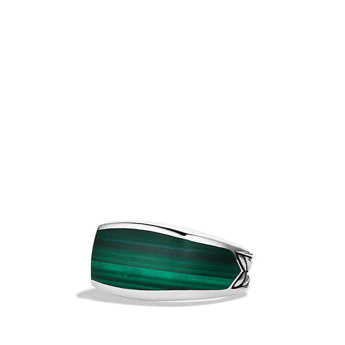 Exotic Stone Narrow Three-Sided Ring with Malachite